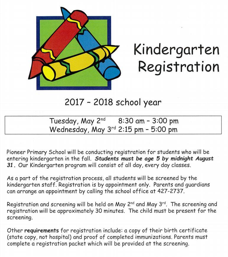 2017-2018 Kindergarten Registration Opens Soon   Pioneer School ...