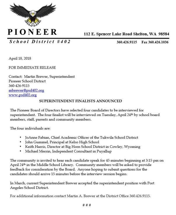 Pioneer SD Announces Superintendent Finalist